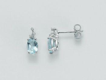 Orecchini Miluna in oro e diamanti Acquamarina ERD1617