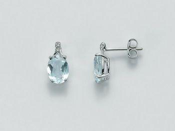 Orecchini Miluna in oro e diamanti Acquamarina ERD1919
