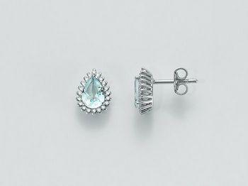 Orecchini Miluna in oro e diamanti Acquamarina ERD2074