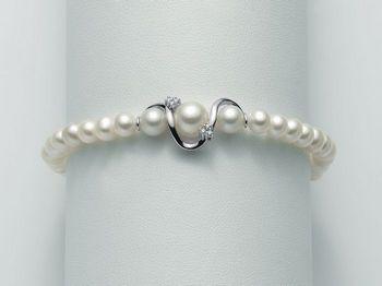 Bracciale Miluna in oro e diamanti con perle I Bracciali Perle PBR1877