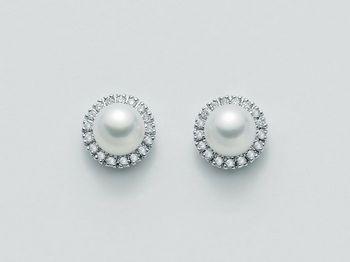 Orecchini Miluna in oro e diamanti con perle Parure Perle Akoya PER1031M