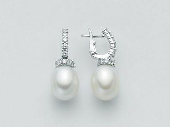 Orecchini Miluna in oro e diamanti con perle Parure Perle Australia PER1256AM