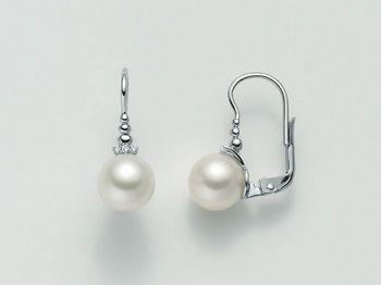 Orecchini Miluna in oro e diamanti con perle Perle Gemelle Regina PER2000