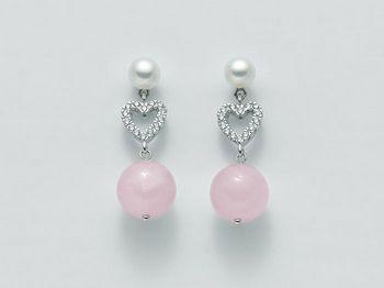 Orecchini rosa Miluna in argento con perle Brio Color PER2064