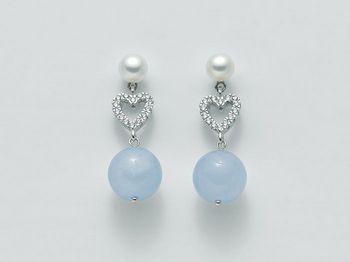 Orecchini azzurri Miluna in argento con perle Brio Color PER2069