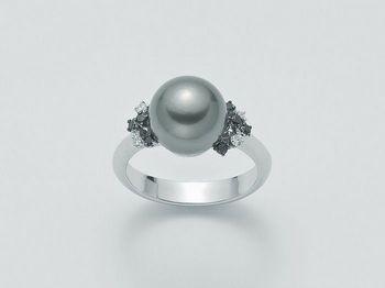 Anello con perla Miluna in oro e diamanti Parure Perle Tahiti PLI1030BNTM