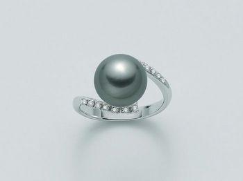 Anello con perla Miluna in oro e diamanti Parure Perle Tahiti PLI1186TM