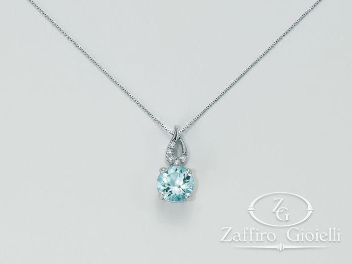 Collana Miluna in oro e diamanti Acquamarina CLD3541