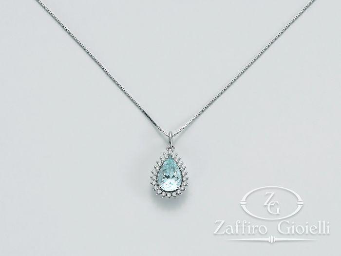 Collana Miluna in oro e diamanti Acquamarina CLD3633