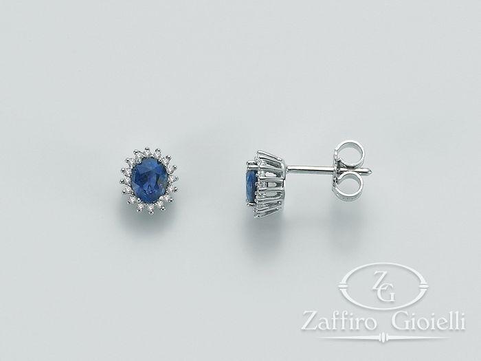 Orecchini Miluna in oro e diamanti Zaffiro ERD1939