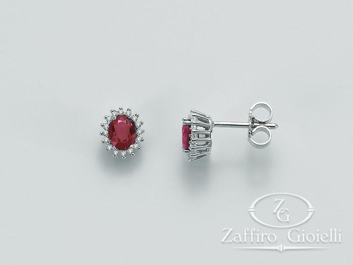 Orecchini Miluna in oro e diamanti Rubino ERD1968