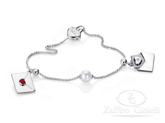 Bracciale Miluna in argento con perle Love PBR1693AG
