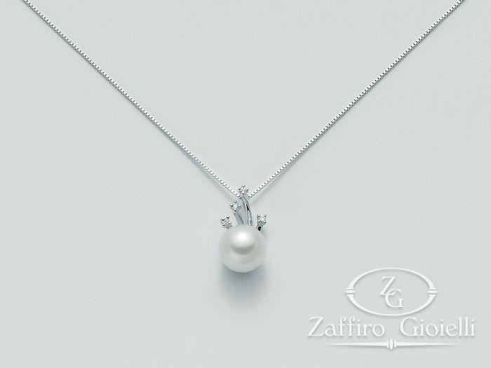 Collana Miluna in oro e diamanti con perle Parure Perle PCL4039