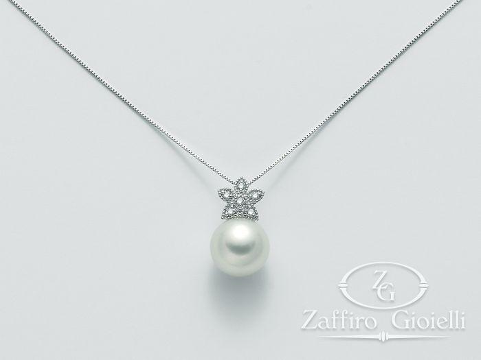 a basso prezzo e6aef 2710f Collana Miluna in oro e diamanti con perle Parure Perle Australia PCL4421AM  - Zaffiro Gioielli