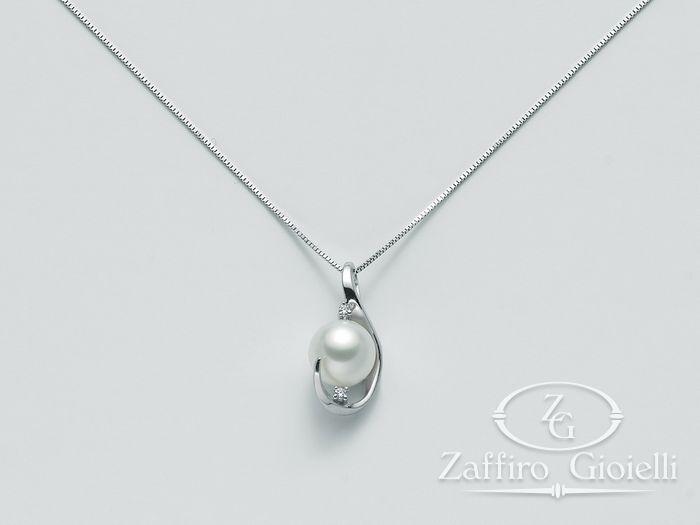 Collana Miluna in oro e diamanti con perle Parure Perle PCL4864
