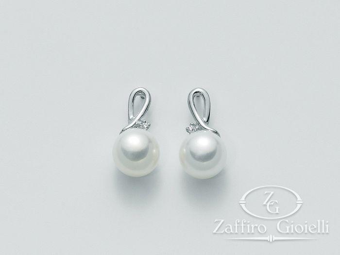 Orecchini Miluna in oro e diamanti con perle Oro 375 Parure Perle PER1096X