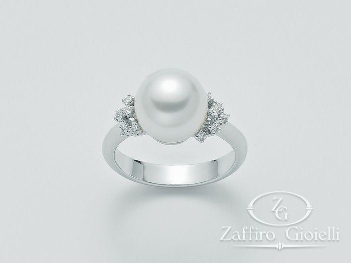 Anello con perla Miluna in oro e diamanti Parure Perle Australia PLI1030AM