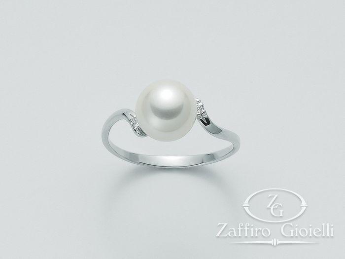 Anello con perla Miluna in oro e diamanti Oro 375 Parure Perle PLI1245X