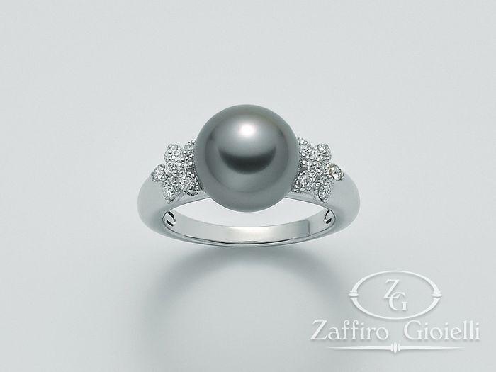 Anello con perla Miluna in oro e diamanti Parure Perle Tahiti PLI1434TM