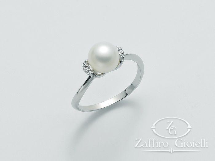 Anello con perla Miluna in oro e diamanti Oro 375 Parure Perle PLI1437X
