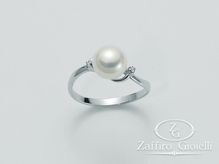 Anello con perla Miluna in oro e diamanti Oro 375 Parure Perle PLI945X