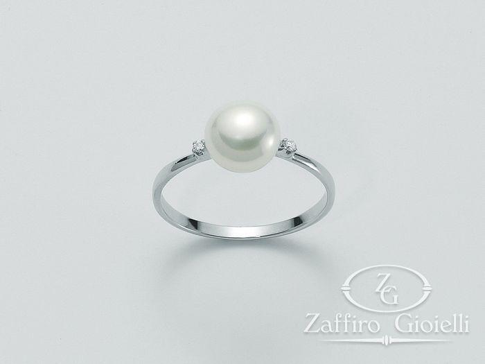 Anello con perla Miluna in oro e diamanti Oro 375 Parure Perle PLI951X